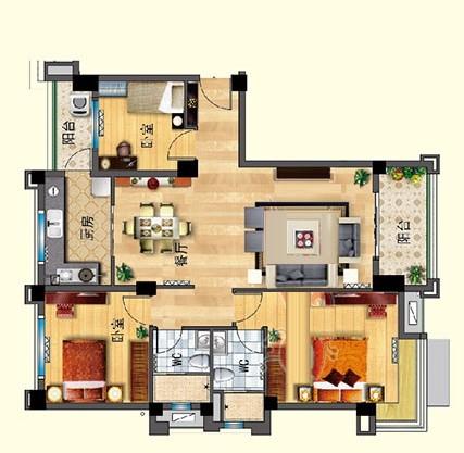 J550-A 三室两厅 125㎡
