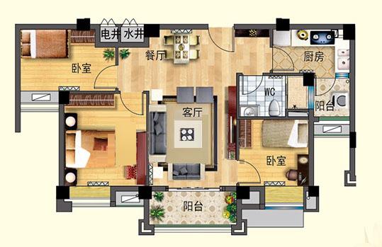 J550-B  三室两厅 88㎡