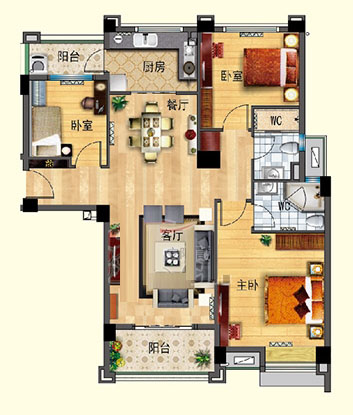 J550-C 三室两厅 122㎡