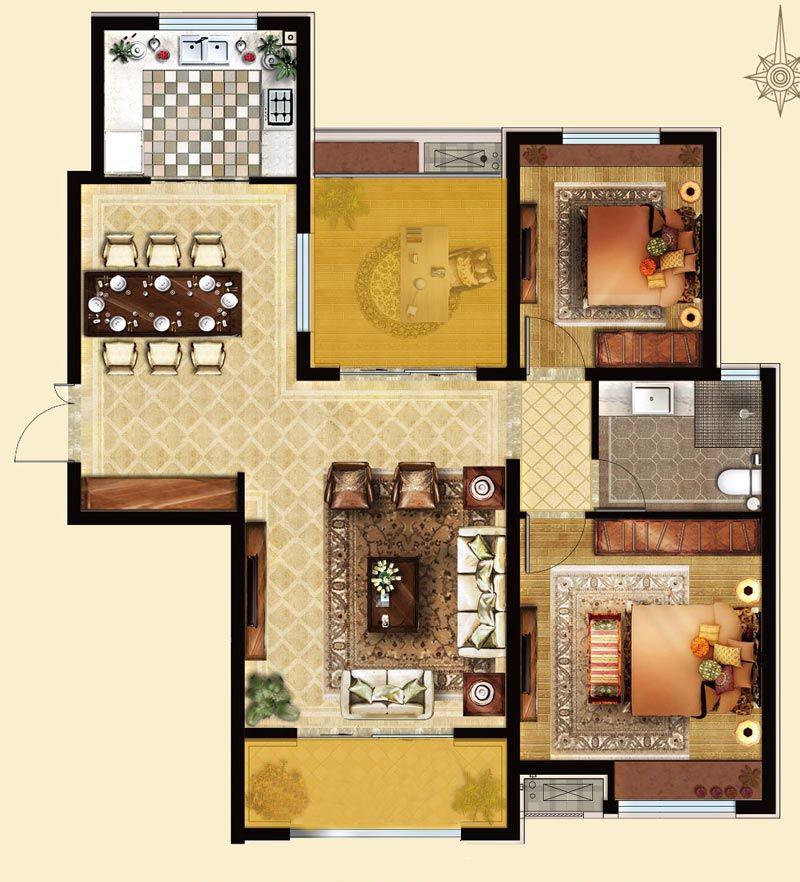 B2户型 117㎡  两室两厅