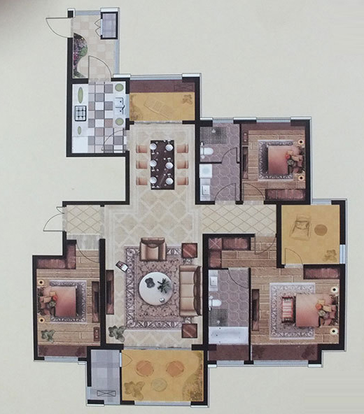 D2户型 174㎡  三室两厅