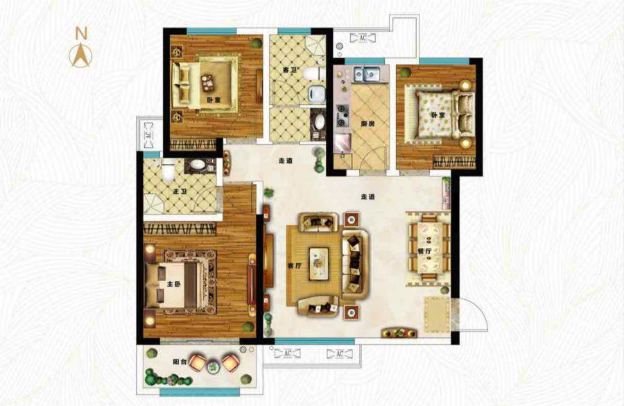 三室两厅两卫117.21㎡