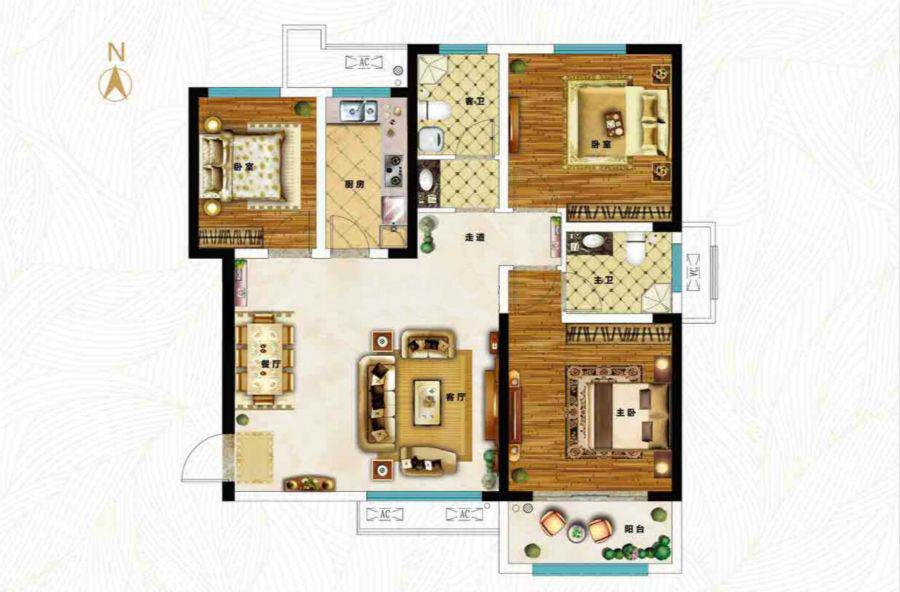 三室两厅两卫117.98㎡