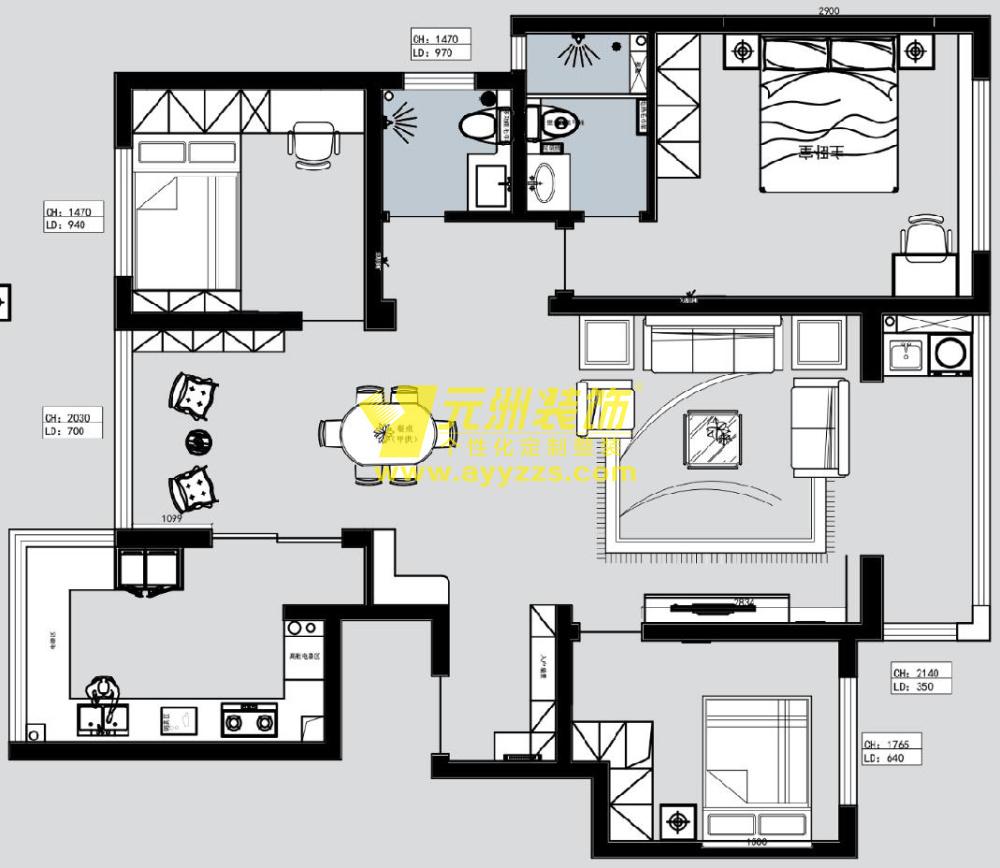 2单元201室·116平米