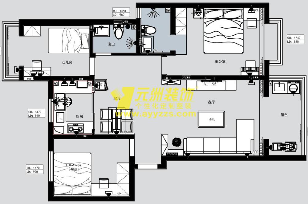 2单元401室·126平米